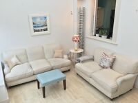 Beautiful Linen & Cotton Sofas with feather cushions - 2 seater & 3 seater - Bargain!