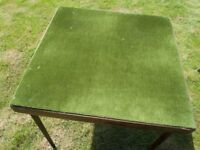 Vintage green felt card table - collapsable