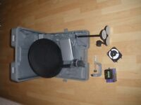 portable satellite dish and receiver in carry case