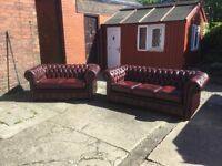 LEATHER CHESTERFIELD SUITE OXBLOOD RED LEATHER 3 SEATER AND 2 SEATER CLASSIC CHESTERFIELD CAN DELIVE