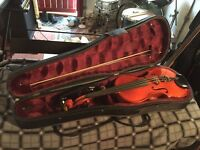 Violin ¾ size with shoulder rest, bow and case.