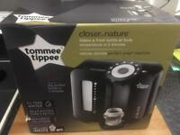 Tommee Tippee Perfect Prep Machine & selection of bottles, 5 bottle lids.
