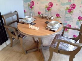 Stunning Refurbished Shabby Chic Solid Beech Drop Leaf Table from John Lewis and Two Carver Chairs