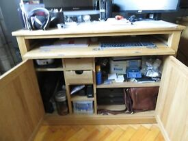 Oak Office Desk and matching printer cabinet