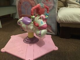 Fisher Price Bounce and Spin Zebra Musical Toy Pink West Hampstead