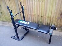 York folding adjustable weight lifting fitness bench in good condition