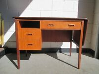 VINTAGE RETRO DROP LEAF DESK WITH THREE DRAWERS AND SLIDING DESK TOP EXTENSION FREE DELIVERY