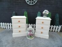 SOLID PINE FARMHOUSE PAIR OF BEDSIDE CABINETS WITH 3 DRAWERS PAINTED WITH LAURA ASHLEY CREAM COLOUR