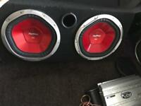 2 x 12 inch Sony subwoofers in box - 1200 watts each