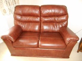 G plan 3 piece suite. leather brown Good condition