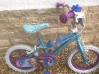 """Girls / kids / child's bike frozen 14"""""""