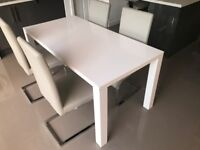 High White Gloss Table and Four Chairs