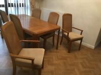 Teak Dining room set, great condition; Table, 6 chairs (2 Carvers) & Drinks cabinet