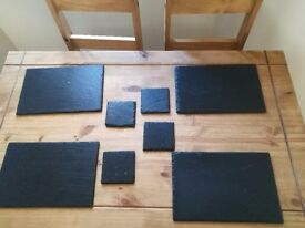 Place matt's and coasters
