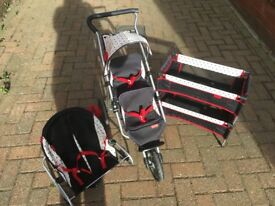 mamas and papas dolls twin buggy, cot and Rocker set - Excellent Condition