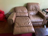 FREE - two seater beige leather recliner sofa