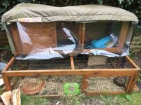 """Wooden Rabbit hutch with run, 12 feet attachable """"runaround tube"""" to link to metal run"""