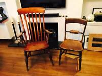 Very old vintage solid wood chairs