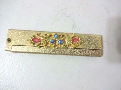 VINTAGE FOLDABLE COMPACT HAIR COMB WITH RHINESTONES