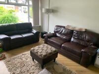 3 Seater and 2 Seater Brown Leather Sofas For Sale with Storage Footstool (5 Years Old)