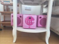 Pink CD player - 3 piece stereo system with main unit and 2x small speakers