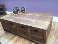 Small Mango 8 drawer coffee table