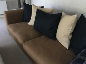 PAIR OF TOBACCO LINEN SOFAS BY TAMARISK