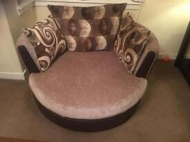 DFS Swivel Cuddle Chair & 4 Seater Matching Sofa £150