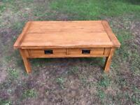 Solid rustic oak coffee table