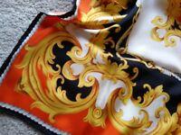 Vibrant orange, black and gold silk scarf