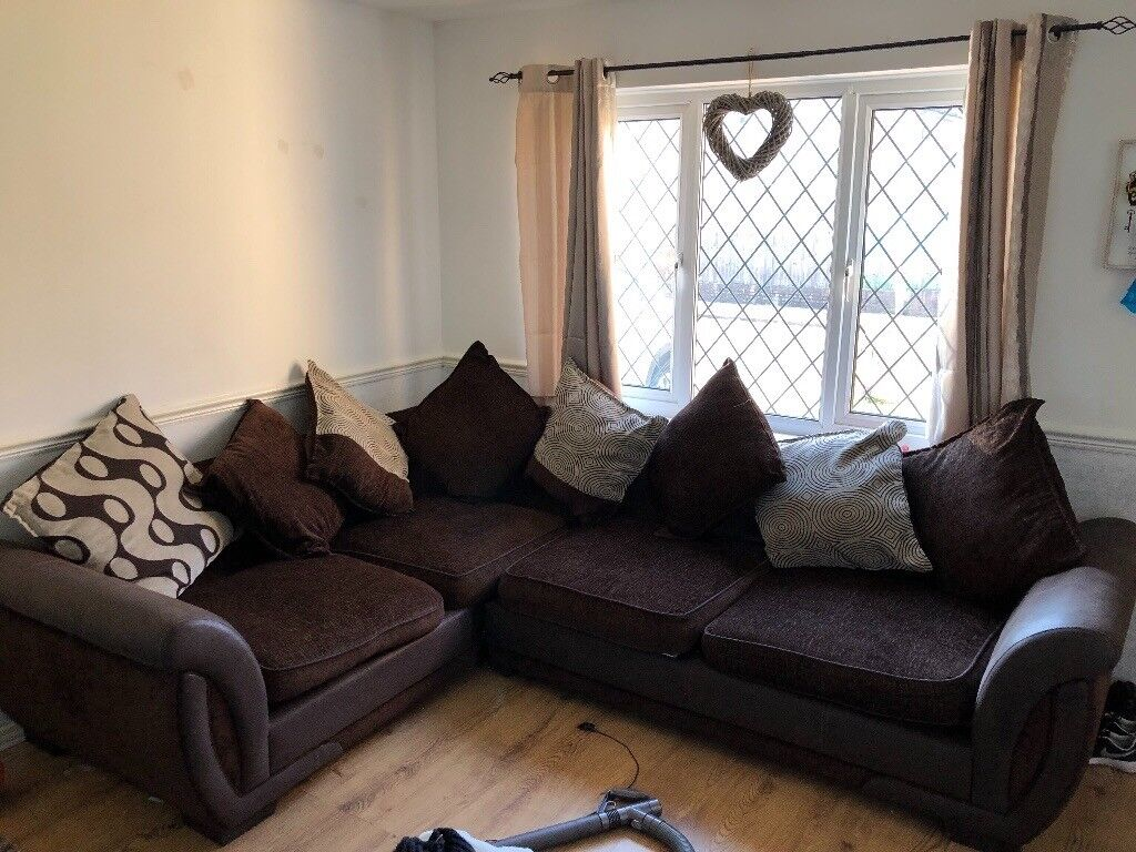 Brown Fabric Corner Sofa From Dfs In Undy Monmouthshire
