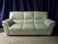 Three 3 seater genuine leather sofa settee