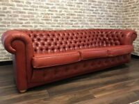 Red Leather Chesterfield Club Sofa