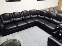 Texas 7 seater black leather corner sofa