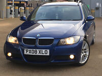 2008 BMW 3 SERIES 2.0 318d M Sport Touring 5dr MET BLUE & BLACK SUEDE LEATHER 129K&FSH 4795 ONO