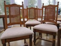 A SET OF 6 SOLID SPANISH OAK DINING CHAIRS