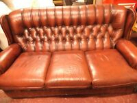 THREE SEATER LEATHER OXBLOOD SOFA - ABSOLUTELY GORGEOUS - USED IN EXCELLENT CONDITION