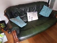 Sofa- leather green good condition. Great with a throw on