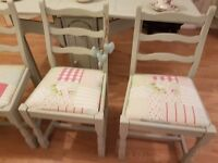 Beautiful Shabby Chic/ Cath Kidston dining chairs set of 4