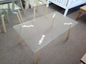 NEW Oak Effect and Glass Coffee Table