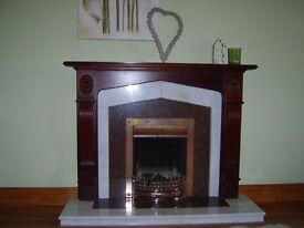 Maghogany surround fireplace, grate and front