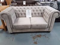 Brand New 2+2 Silver Velvet Chesterfield Sofa. Free Delivery Up To 25 Miles. Ready For Delivery
