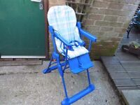 MOTHERCARE HIGH CHAIR IN BLUE.