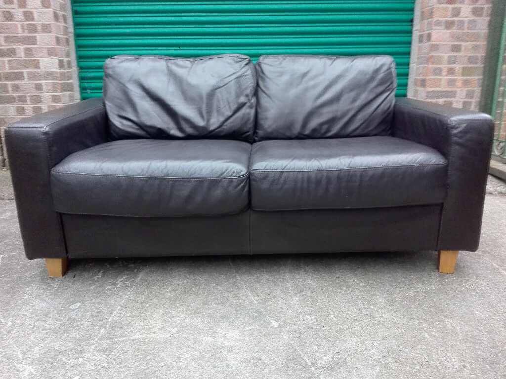 Leather chocolate brown 2 seater settee sofa in very good condition / free delivery