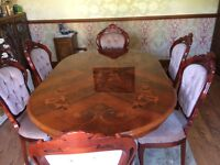 Italian Inlaid Dining Table with Six Upholstered Chairs