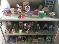 Wooden dolls house, wooden rosebud bus and accessories