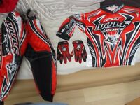 kids motorcross outfit and helmet
