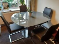 Opaque glass Dining table x4 leather chairs