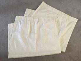 "Cream Flock Design Curtains - size 65""x54"" drop"