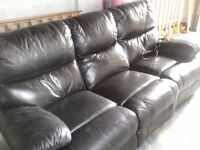 3 seater leather satee electric recliner